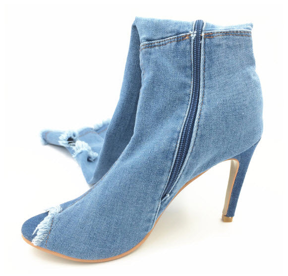 Denim Blue Thigh High Boots