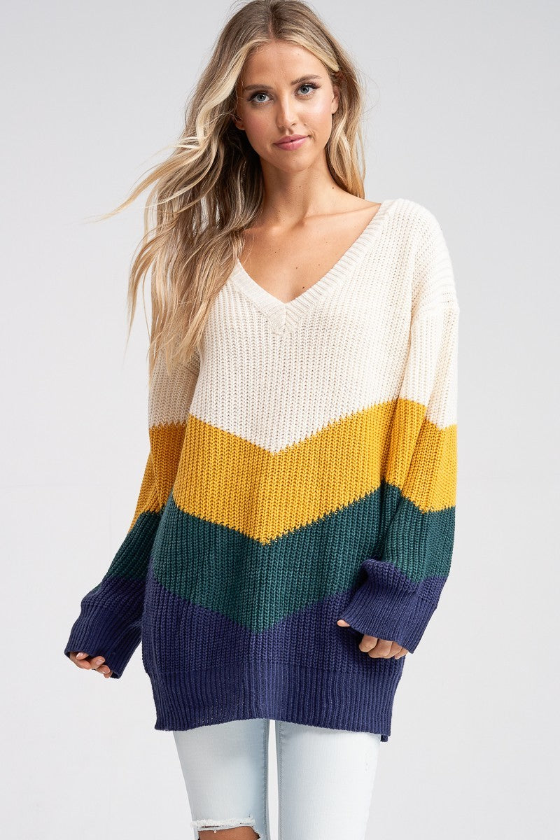 Mina Chevron Oversize Sweater