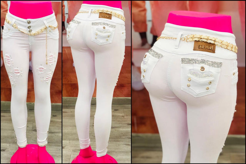 Jeans with embellishments -White