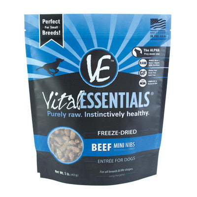 Beef Mini Nibs Freeze-Dried Grain Free Dog Food - 1lb