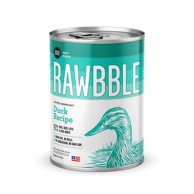 Rawbble Wet Food Duck Recipe - 12 - 12.5oz Cans-Dog Food-Bixbi-12, 12.5oz Cans-Koa's House Pet Supplies