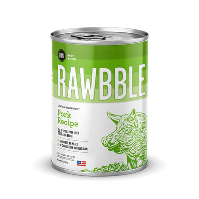 Rawbble Wet Food Pork Recipe - 12, 12.5oz Cans-Dog Food-Bixbi-12 -12.5oz Cans-Koa's House Pet Supplies