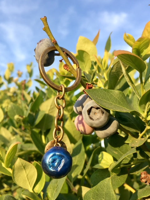 Brass Key Chain with Blueberry