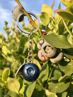 Silver Key Chain with Blueberry