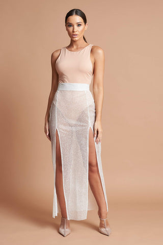 Ivory Sparkle Split Skirt