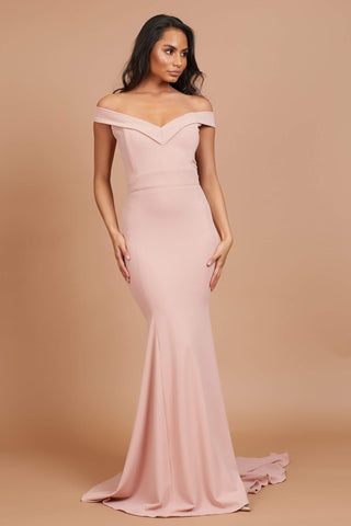Dusty Pink Skylla Fluted Bridesmaid Dress