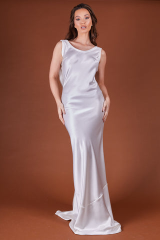 Ivory Satin Cowl Back Dress