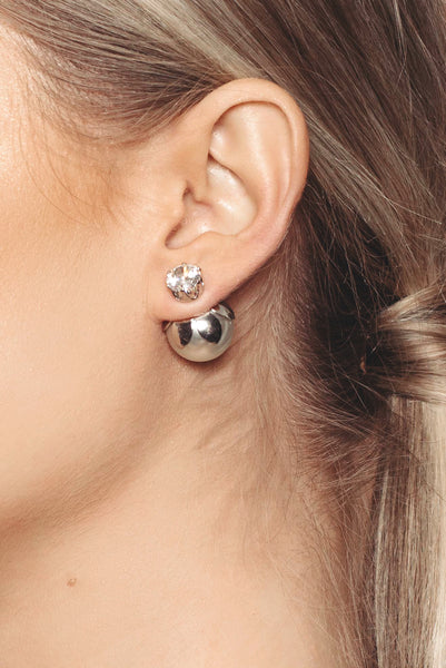 Silver Ball Ear Jacket Earrings
