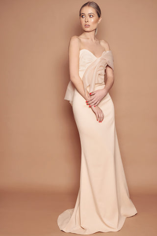 Blush Crepe and Organza Asymmetric Dress