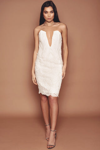 Pearl and Bead Lace Cocktail Dress