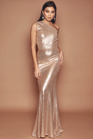 Gold One Shoulder Fluted Dress
