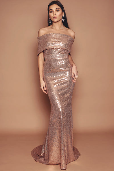 Rose Gold Sequin Holly Fluted Dress