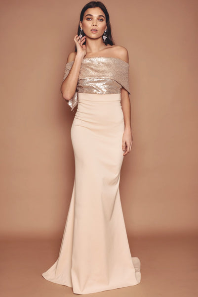 Gold Sequin and Crepe Fishtail Dress
