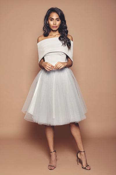 Silver Holly Tulle Bridesmaid Dress