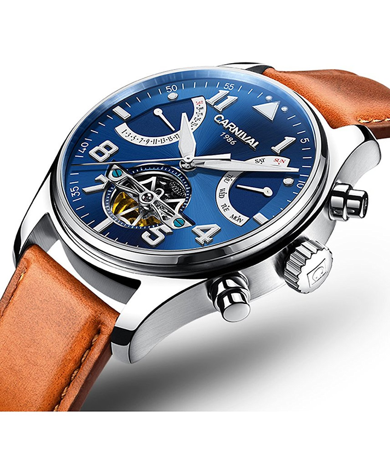 with case sapphire glass and hompage en chronographs watches band watch titanium movement amr swiss luxury strat blue