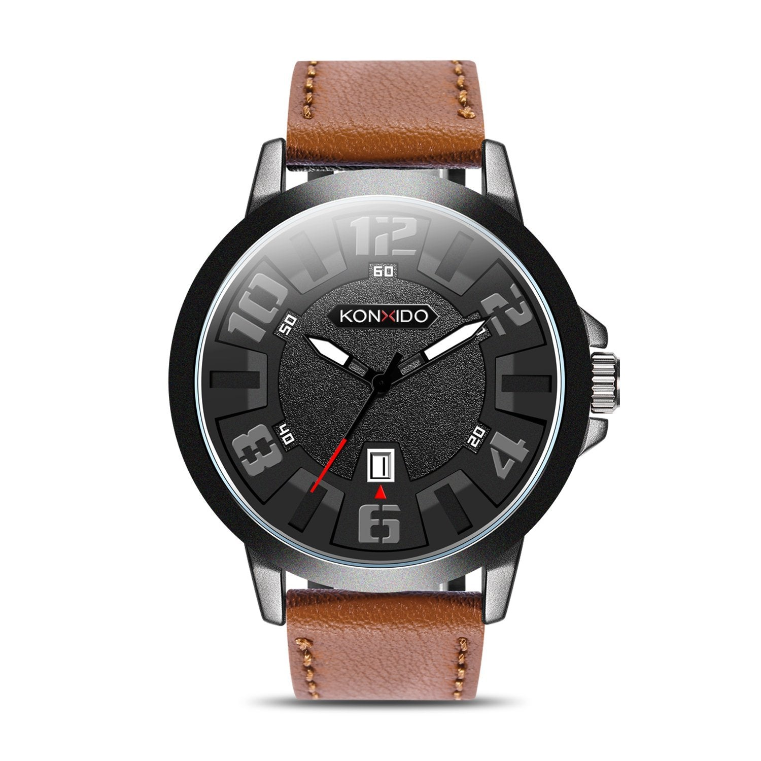 in masculino calendar from date wrist business quartz on relogios auto casual men leather watches strap item brown watch