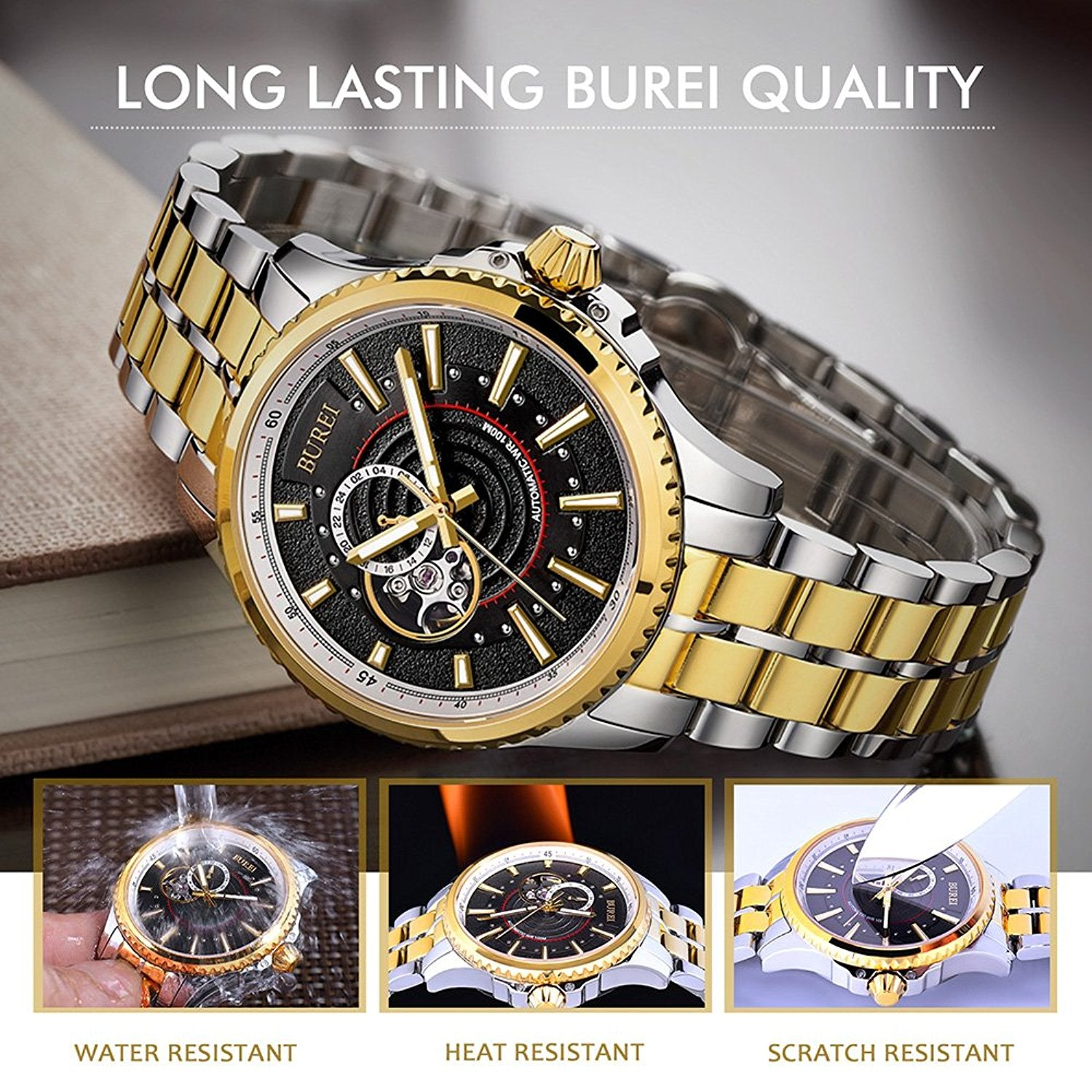 products mul rose with case k gold date men mens luxury stainless watches quality watch dress chronograph waterproof steel wrist