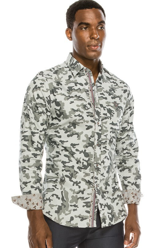 Men's Camo Print Casual Dress Shirt