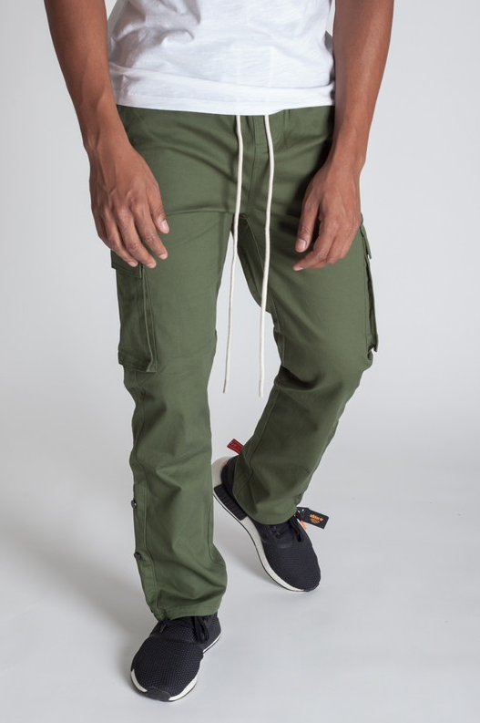 Stylish Young Men's Cargo Pants - Olive/Green