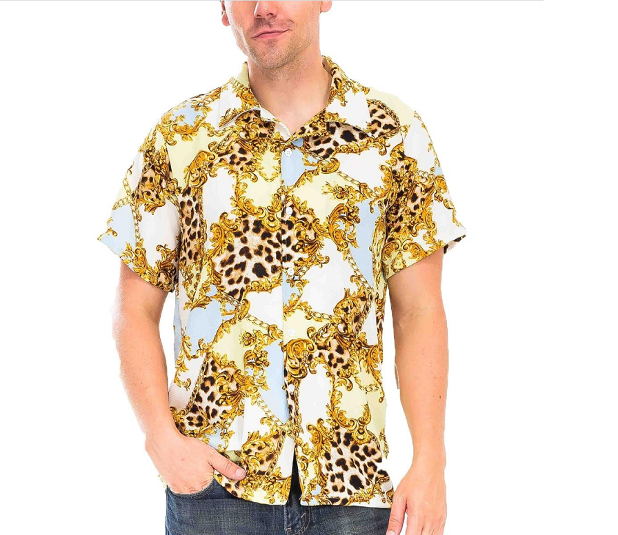 Gold Leaf Shirt Sleeve Shirt - White/Yellow Print