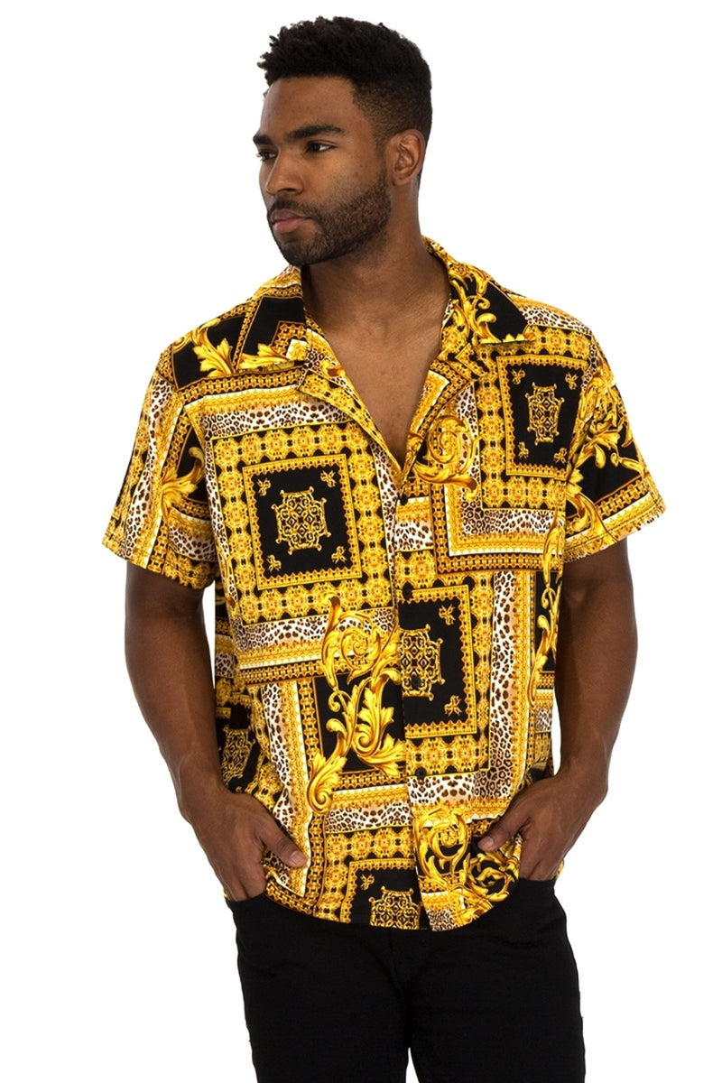 Gold Frame Short Sleeve Shirt - Yellow/Black