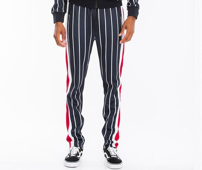 Post Cargo Tracksuit Pants - Black/White Stripes