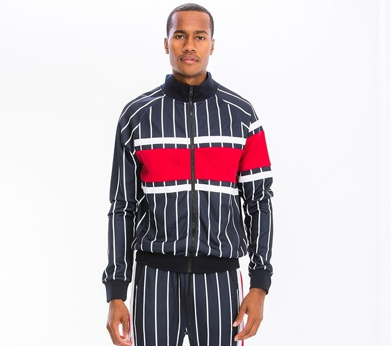 Post Track Jacket - Red/White with Black Stripes