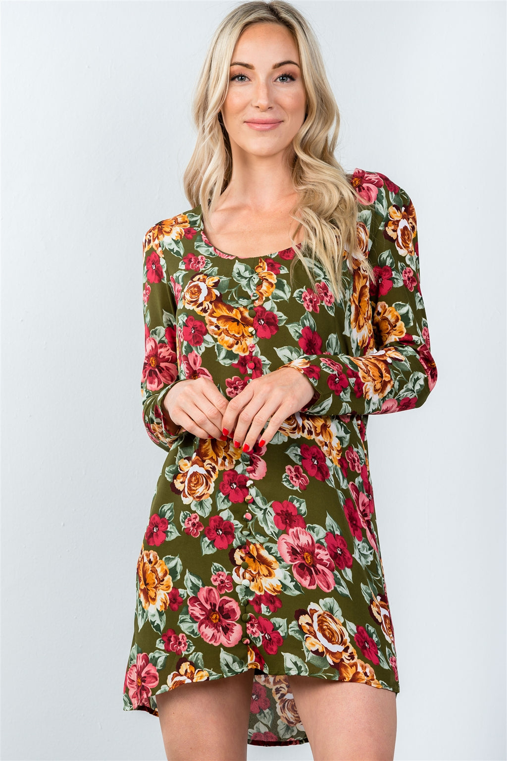 Ladies fashion long sleeve scoop neck allover floral mini dress
