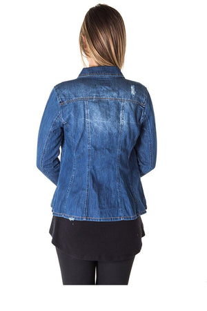 Ladies fashion distress denim shirt jacket