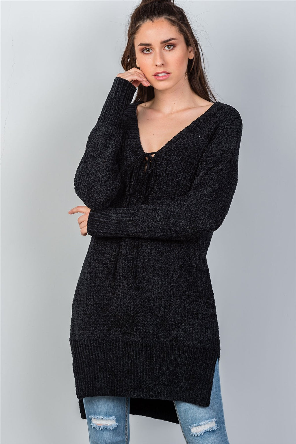 Black Keyhole Choker Long Tail Sweater