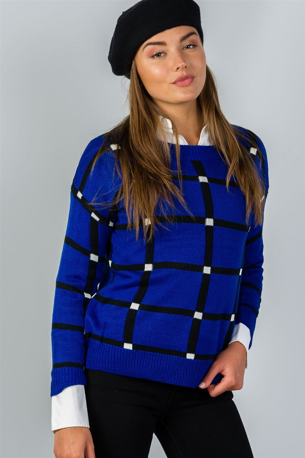 Ladies Pullover Square Print Sweater