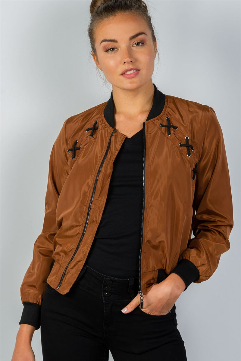 Ladies Fashion Zip-up Bomber Jacket