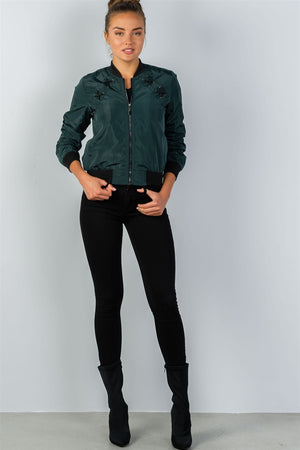 Ladies Zip-up Bomber Jacket (Color Green)