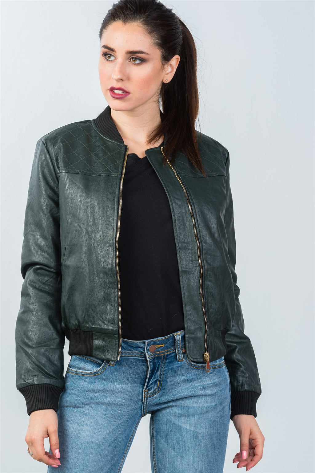Peacock Pleather Bomber Jacket