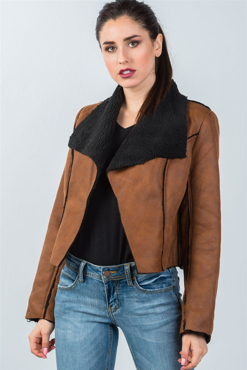 Relaxed-Fit Faux Sheepskin Drape Neck Jacket (Color Dark Brown)