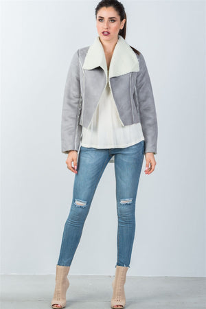 Relaxed-Fit Faux Sheepskin Drape Neck Jacket (Color Grey)