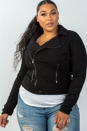 Ladies Fashion Plus Size Asymmetric Zipper Moto Jacket (Black)