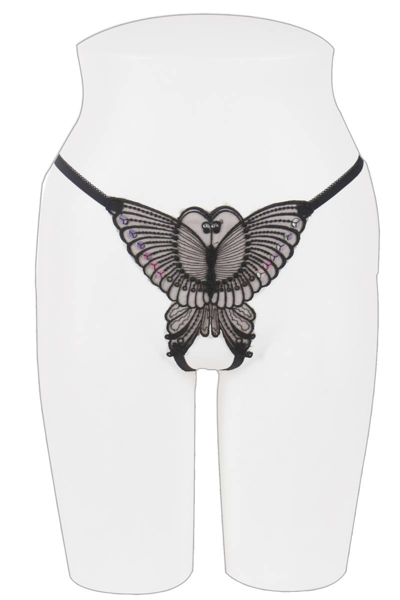 Ladies butterfly crotchless thong