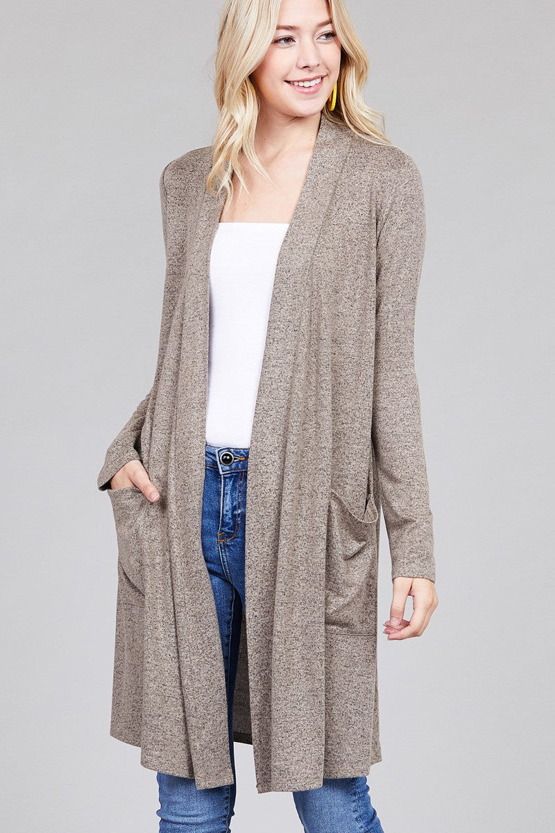 Ladies fashion long sleeve open front w/pocket brushed hacci cardigan