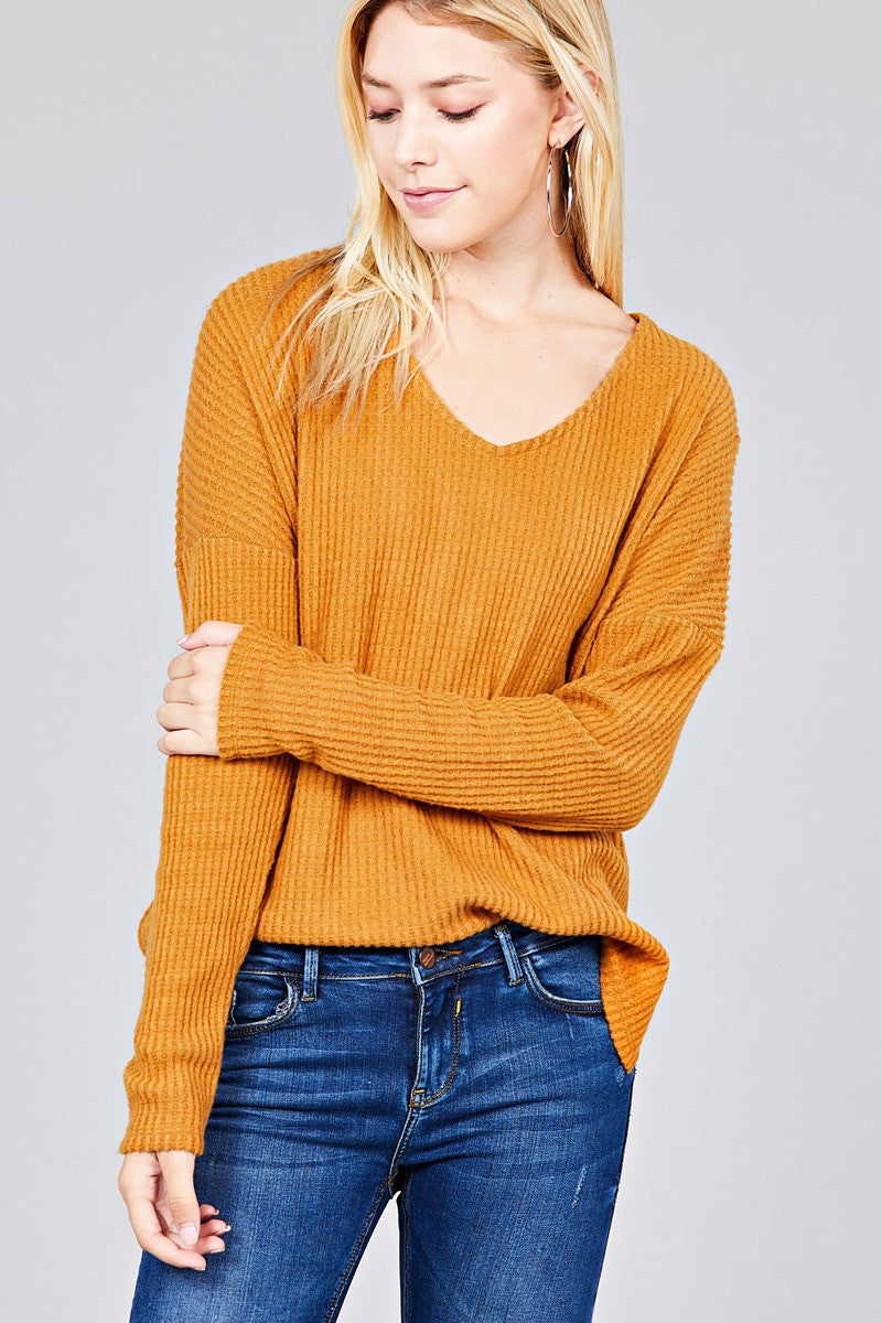 Ladies Long Dolmen Sleeve Waffle knit top