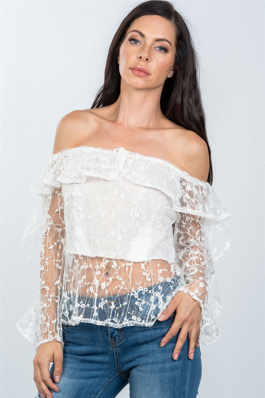 Ladies fashion sheer floral textured off the shoulder top