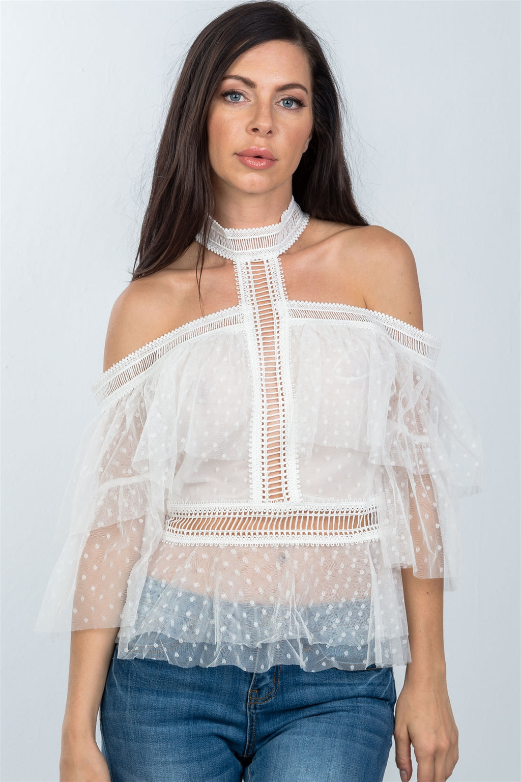 Ladies fashion boho off white sheer dot cold shoulder ruffle top