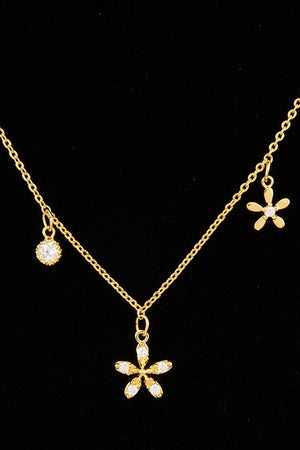 Cz stone floral pendant short necklace