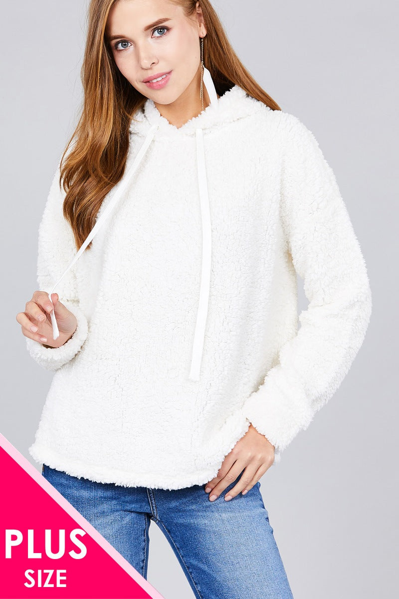 Ladies fashion plus size long sleeve hoodie drawstring faux fur top