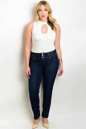 Anna-Kay Navy Plus Size Jeans