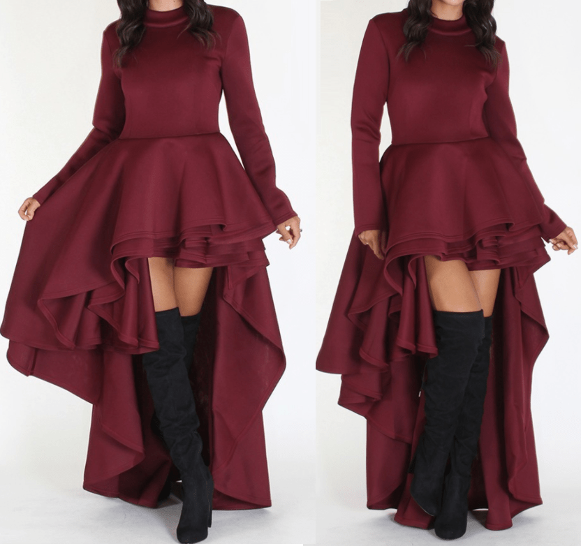 Burgundy Cascading Tail Dress