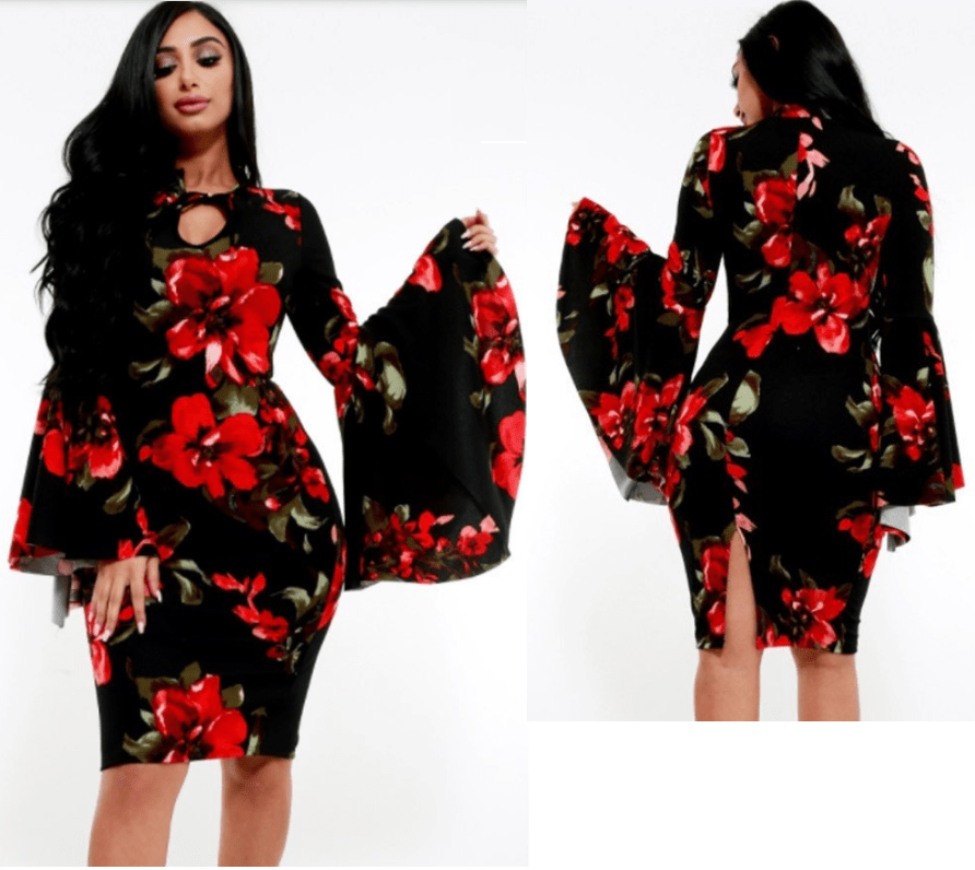 Long Bell Sleeve Midi Floral Dress