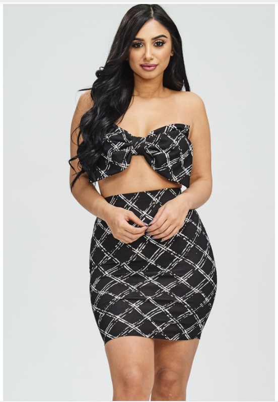 Geometric Print Ribbon Bra Top with Matching Skirt - Black