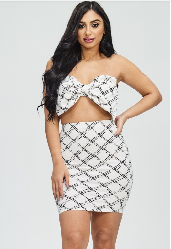 Geometric Print Ribbon Bra Top with Matching Skirt - White