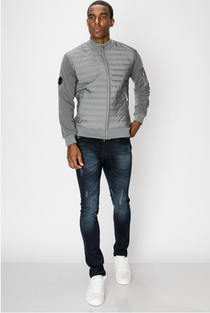 Men's Bomber Jacket with Horizontal Quilted Panels - Gray